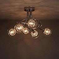 Carmenta Brushed Chrome effect 6 Lamp Ceiling light