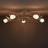 Honos Brushed Cream Gold effect 5 Lamp Ceiling light