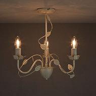 Lympha Brushed Cream 3 Lamp Chandelier Ceiling light