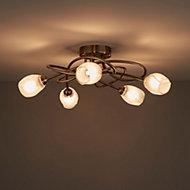 Egeria Antique brass effect 5 Lamp Ceiling light