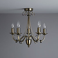 Inuus Brushed Antique brass effect 5 Lamp Chandelier Ceiling light