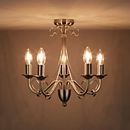Inuus Brushed Chrome effect 5 Lamp Chandelier Ceiling light