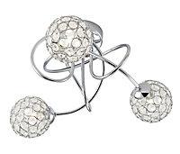 Mantus Brushed Chrome effect 3 Lamp Ceiling light