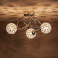 Mantus Brushed Chrome effect 3 Lamp Ceiling light