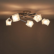 Glacies Brushed Chrome effect 5 Lamp Ceiling light