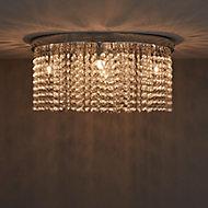 Carna Brushed Chrome effect 5 Lamp Ceiling light