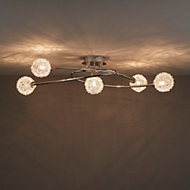 Phaidros Chrome effect Mains-powered 5 lamp Spotlight