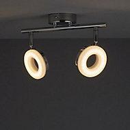 Muesis Chrome effect Mains-powered 2 lamp Spotlight