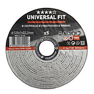 Universal (Dia)125mm Inox/metal cutting disc, Pack of 5