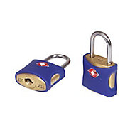 Smith & Locke Brass Cylinder Steel open shackle Padlock (W)25mm, Pack of 2
