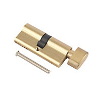 Smith & Locke Brass Single Euro Thumbturn Cylinder lock, (L)90mm (W)33mm