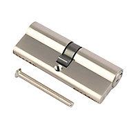 Smith & Locke Nickel effect Brass Single Euro Cylinder lock, (L)70mm (W)33mm