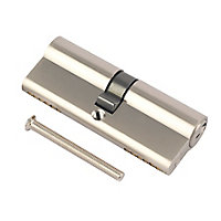 Smith & Locke Nickel effect Brass Single Euro Cylinder lock, (L)70mm (W)33mm