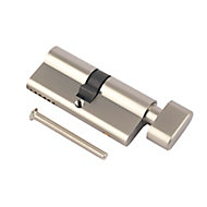 Smith & Locke Nickel effect Brass Single Euro Thumbturn Cylinder lock, (L)90mm (W)33mm