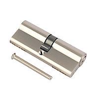 Smith & Locke Nickel effect Brass Single Euro Cylinder lock, (L)80mm (W)33mm