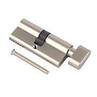 Smith & Locke Nickel effect Brass Euro thumbturn cylinder lock