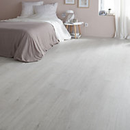 Colours Geelong Grey Oak effect Laminate flooring, Sample