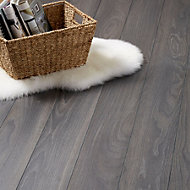 Colours Horsham Grey Oak effect Laminate flooring, Sample