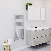 Blyss 274W Chrome Towel warmer (H)1000mm (W)450mm