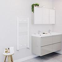 Blyss 411W White Towel warmer (H)1000mm (W)450mm