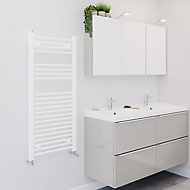 Blyss 489W Matt White Towel warmer (H)1100mm (W)500mm