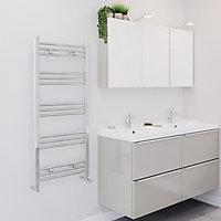 Blyss Leyburn 287W Chrome Towel warmer (H)1100mm (W)500mm