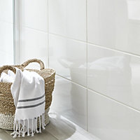 Catanzaro White Gloss Ceramic Wall tile, Pack of 12, (L)500mm (W)250mm