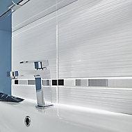 Salerna White Gloss Ceramic Wall tile, Pack of 17, (L)250mm (W)400mm