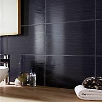 Salerna Black Gloss Linear Ceramic Wall tile, Pack of 17, (L)250mm (W)400mm
