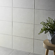 Cimenti Light Grey Matt Ceramic Wall tile, Pack of 10, (L)400mm (W)250mm
