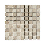 Padoue Beige Travertine Mosaic tile, (L)300mm (W)300mm