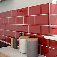Trentie Red Gloss Metro Ceramic Wall tile, Pack of 40, (L)200mm (W)100mm