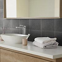 Konkrete Black Matt Porcelain Floor tile, Pack of 34, (L)200mm (W)200mm