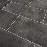 Konkrete Anthracite Matt Concrete effect Porcelain Floor tile, Pack of 8, (L)307mm (W)617mm