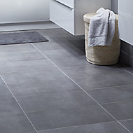 Konkrete Anthracite Matt Concrete effect Porcelain Floor tile, Pack of 8, (L)307mm (W)617mm