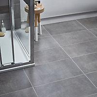 Konkrete Anthracite Matt Modern Concrete effect Porcelain Floor tile, Pack of 8, (L)307mm (W)617mm