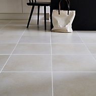 Konkrete Ivory Matt Concrete effect Porcelain Floor tile, Pack of 4, (L)616mm (W)616mm
