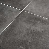 Konkrete Anthracite Matt Concrete effect Porcelain Floor tile, Pack of 4, (L)616mm (W)616mm