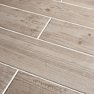 Cotage wood White Matt Wood effect Porcelain Floor tile, Pack of 4, (L)1200mm (W)200mm