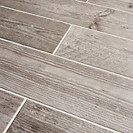Cotage wood Grey Matt Wood effect Porcelain Floor tile, Pack of 4, (L)1200mm (W)200mm