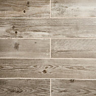 Cotage wood Beige Matt Wood effect Porcelain Floor tile, Pack of 4, (L)1200mm (W)200mm
