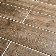 Cotage wood Light brown Matt Wood effect Porcelain Floor tile, Pack of 4, (L)1200mm (W)200mm
