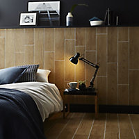 Arrezo Brown Matt Wood effect Porcelain Floor tile, Pack of 14, (L)600mm (W)150mm