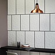 Alexandrina White Gloss Ceramic Wall tile, (L)400mm (W)250mm, Sample