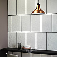 Alexandrina White Gloss Ceramic Wall tile, (L)400mm (W)250mm, Sample