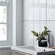 Perouso White Gloss Concrete effect Ceramic Wall tile, (L)600mm (W)300mm, Sample