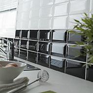 Trentie Black Gloss Ceramic Wall tile, (L)200mm (W)100mm, Sample