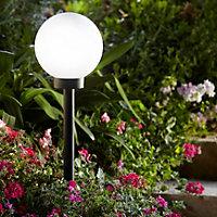 Blooma Kimberley Matt Black Ball Solar-powered LED Spike light