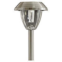 Blooma Kitmat Polished Silver effect Solar-powered LED Outdoor Spike light