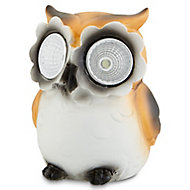 Painted Brown & white Owl Solar-powered LED External Decorative light